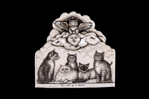 """This is a unique wall plaque was originally hand etched Small All Cats go to Heaven Wall Plaque design. This is part of the incredible line of Mossup Valley Designs that we carry, with the wonderful artist Rachel Badeau. The dimensions of the plaque are 4.36"""" x 4.24"""" x 0.59"""". The SKU is MVD WP 5.  Rachel Badeau has been etching and engraving in a variety of media for over thirty years. Her work, characterized by fine line and intricate detail, attempts to touch the hearts and emotions of others. All while reflecting her love of animals, nature and the human spirit.  The resin scrimshaw piece is originally hand etched by Rachel Badeau. We make a mold of the original piece and do an open cast pour of our resin mixture. The pieces are removed from the mold and sanded and inked."""