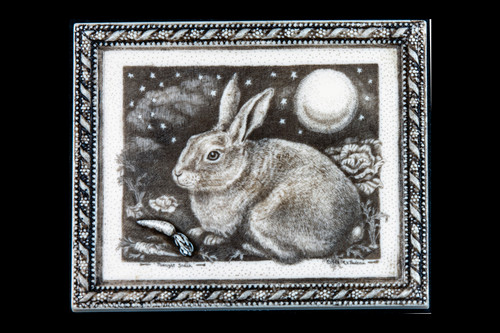 "This is a wonderful wall plaque was originally hand etched Midnight Snack Wall Plaque design.  This is part of the incredible line of Mossup Valley Designs that we carry, with the wonderful artist Rachel Badeau.  The dimensions of the plaque are 5.58"" x 4.59"" x 0.41"".  The SKU is MVD WP 16.  Rachel Badeau has been etching and engraving in a variety of media for over thirty years.  Her work, characterized by fine line and intricate detail, attempts to touch the hearts and emotions of others.  All while reflecting her love of animals, nature and the human spirit.    The resin scrimshaw piece is originally hand etched by Rachel Badeau.  We make a mold of the original piece and do an open cast pour of our resin mixture.  The pieces are removed from the mold and sanded and inked."