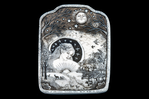 """This distinct wall plaque was originally hand etched Earth Mother Goddess Wall Plaque design. This beautiful piece has a depicton of the Earth Mother Goddess looking down on earth with a varity of animals on the land. This is part of the incredible line of Mossup Valley Designs that we carry, with the wonderful artist Rachel Badeau. The dimensions of the plaque are 4.63"""" x 5.81"""" x 0.32"""". The SKU is MVD WP 17.  The truley unique part of this stunning piece is the 3D hand carving in the design of the plaque. Between the 3D border to the piece, as well as the moon and tree branches at the top of the piece. This added art work makes this a memorable piece.  Rachel Badeau has been etching and engraving in a variety of media for over thirty years. Her work, characterized by fine line and intricate detail, attempts to touch the hearts and emotions of others. All while reflecting her love of animals, nature and the human spirit."""