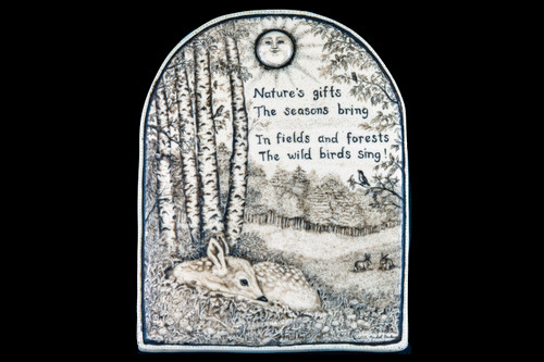 """This is a beautiful wall plaque is an originally hand etched Nature's Gifts Wall Plaque design. This is part of the incredible line of Mossup Valley Designs that we carry, with the wonderful artist Rachel Badeau. The dimensions of the plaque are 5.29"""" x 6.82"""" x 0.36"""". The SKU is MVD WP 19.  This gorgeous piece has a saying etched into the design. The saying is: """" Nature's gifts The seasons bring In fields and forests The wild birds sing! """""""