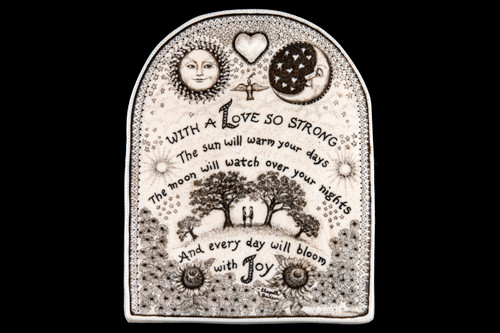 """This is a beautiful wall plaque is an originally hand etched Love So Strong Wall Plaque design. This intricate design has a couple holding hands under the Sun/Moon and Tree's. This is part of the incredible line of Mossup Valley Designs that we carry, with the wonderful artist Rachel Badeau. The dimensions of the plaque are 5.31"""" x 6.81"""" x 0.37"""". The SKU is MVD WP 21.  Etched into the piece is a saying that flows with the design. The saying says: """" With a Love so Strong The Sun will warm your days The moon will watch over your nights And every day will bloom with Joy """"  This unique design has 3D engraving intertwined into the plaque. The heart at the top of the plaque has a 3D Heart that makes this piece truly special!"""