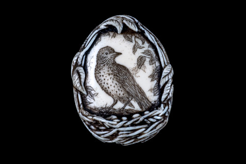 "This beautiful originally hand etched Wood Thrush designed pin/pendant. The Wood Thrush sitson their nest with eggs.  The backing of this piece has the findings to be a pin, as well as a pendant.  They come with an 18"" Silver Plated Chain.  This is part of the incredible line of Mossup Valley Designs that we carry, with the wonderful artist Rachel Badeau.  The dimensions of the necklace are 1.41"" x 1.85"" x 0.54"".  The SKU is MVD PN 9  Rachel Badeau has been etching and engraving in a variety of media for over thirty years.  Her work, characterized by fine line and intricate detail, attempts to touch the hearts and emotions of others.  All while reflecting her love of animals, nature and the human spirit.    The resin scrimshaw piece is originally hand etched by Rachel Badeau.  We make a mold of the original piece and do an open cast pour of our resin mixture.  The pieces are removed from the mold and sanded and inked."