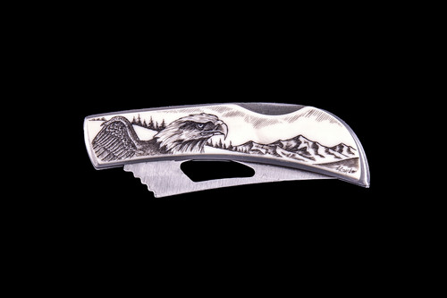 "This beautiful originally hand etched Eagle Face design on a Stainless Steel Silver Hawk Knife.  The back of the knife has a belt clip and all the knifes come with the pictured sheath.  It is a lock blade knife.  The artwork was originally hand etched by Linda Layden.  The dimensions of the Silver Hawk knife with the blade closed are 3.00"" x 0.96"" x 0.55"".  The blade itself is approximately 2.35"" making the width of the knife with an open blade 5.35"".  The SKU is NC 14 - 114."