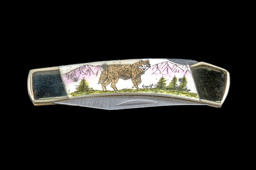 "This unique hand etched Colored Wolf design on a 440 Stainless Steel Blade LB 5 Knife.  This beautiful knife is part of the Scrimshaw Collection, with those words laser engraved into the blade.  The LB 5 knifes come with the pictured leather sheath and each scale is made with Bovine Bone.  The LB 5 Knife has bolsters and shackle that are nickel silver with brass pins and liner.  It is a lock blade knife and a very useful pocket knife. The knife also has a key chain ring at the end of the knife.  The dimensions of the LB 5 Pocket Knife with the blade closed are 3.71"" x 0.90"" x 0.39"".  The blade itself is approximately 2.80"" making the width of the knife with an open blade 6.51"".  The SKU is LB-5 106.  The scrimshaw is inked with colored india ink and sealed with renaissance wax, which is used by museums for antique restoration.  It also helps bring out the beauty of the artwork as well as in the cow bone. The knife is water resistant, but not waterproof."