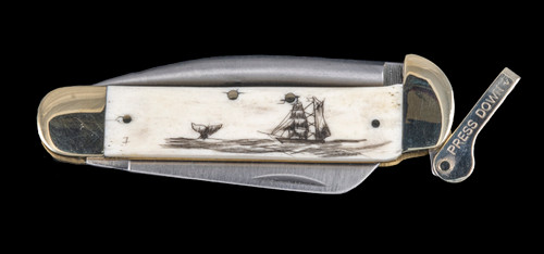 "This unique hand etched Ship and Whale design on a 440 Stainless Steel Blade Marlin Spike with a foldable bladed knife.  The Marlin Spike has a lock feature, while the knife blade is foldable.  This beautiful knife is part of the Scrimshaw Collection, with those words laser engraved into the blade.  The MS knifes come with the pictured leather sheath and each scale is made with Bovine Bone.  The MS Knife has bolsters and shackle that are nickel silver with brass pins and liner.  It is a lock blade Marlin Spike with a very useful pocket knife. The Marlin Spike is made of Stainless Steel.  The dimensions of the MS Knife with the blade closed are 4.11"" x 2.17"" x 0.69"".  The blade itself is approximately 2.91"" making the width of the knife with an open blade 7.02"".  The Marlin Spike is 3.05"" long.  The SKU is MS 403."