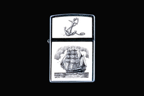 "This is a stunning Nautical originally hand etched Eco-Ivory Scrimshaw Tall Ship designed Zippo Lighter! The top of the flip lighter has a Anchor design.  The Zippo is a Brushed Chrome finish. Each lighter has a bottom stamp signifying the year it was made, is refillable. All windproof lighters are American made in Bradford, PA factory and come packaged in a gift box.  This is part of the Save the Elephant Collection and was originally hand etched by Linda Layden. The SKU is NC 54 - 224.  The Zippo Lighter is 2.24"" x 1.51"" x 0.59"".  It weighs 2.04 oz."