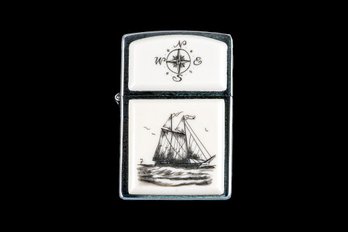 "This is a incredible Nautical Style Eco-Ivory Scrimshaw Schooner Ship designed Zippo Lighter! The top of the flip lighter has a Compass Rose design.  The Zippo is a Brushed Chrome finish. Each lighter has a bottom stamp signifying the year it was made, is refillable. All windproof lighters are American made in Bradford, PA factory and come packaged in a gift box.  This is part of the Save the Elephant Collection and was originally hand etched by Bill Feeney. The SKU is NC 54 - 450.  The Zippo Lighter is 2.24"" x 1.51"" x 0.59"".  It weighs 2.04 oz."