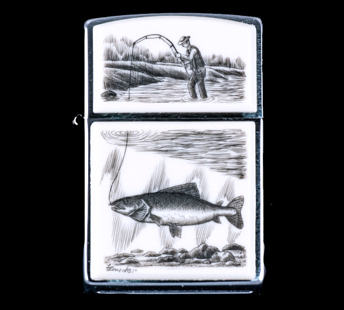 """This is a unique originally hand etched Eco-Ivory Scrimshaw Trout Designed Zippo! The top of the flip lighter has a a fisherman design. The Zippo is a Brushed Chrome finish. Each lighter has a bottom stamp signifying the year it was made, is refillable. All windproof lighters are American made in Bradford, PA factory and come packaged in a gift box. This is part of the Save the Elephant Collection and was originally hand etched by Linda Layden. The SKU is NC 54 - 102.  The Zippo Lighter is 2.24"""" x 1.51"""" x 0.59"""". It weighs 2.04 oz."""