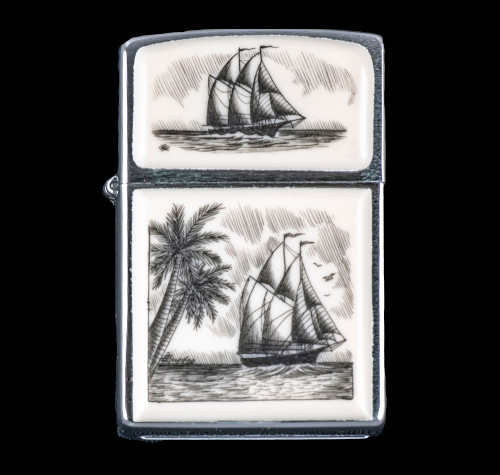 """This is a beautiful originally hand etched Eco-Ivory Scrimshaw Ship and Palm Tree Designed Zippo! The top of the flip lighter has a Sail Boat design. The Zippo is a Brushed Chrome finish. Each lighter has a bottom stamp signifying the year it was made, is refillable. All windproof lighters are American made in Bradford, PA factory and come packaged in a gift box. This is part of the Save the Elephant Collection and was originally hand etched by Linda Layden. The SKU is NC 54 - 324.  The Zippo Lighter is 2.24"""" x 1.51"""" x 0.59"""". It weighs 2.04 oz."""
