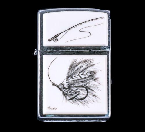 "This is a unique originally hand etched Eco-Ivory Scrimshaw Fly Fishing Lure Designed Zippo!  The top of the flip lighter has a Fly Fishing Rod design.  The Zippo is a Brushed Chrome finish. Each lighter has a bottom stamp signifying the year it was made, is refillable. All windproof lighters are American made in Bradford, PA factory and come packaged in a gift box.  This is part of the Save the Elephant Collection and was originally hand etched by Linda Layden.  The SKU is NC 54 - 200.  The Zippo Lighter is 2.24"" x 1.51"" x 0.59"".  It weighs 2.04 oz."