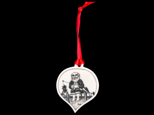 "This is a unique teardrop ornament with a Santa Fishing Scene.  This is part of our Save the Elephant Collection that we make, with the wonderful artist Linda Layden.  The dimensions of the ornament are 1.91"" x 1.37"" x 0.12"".  The SKU is NC 50T - 02S  Fishing Santa Ornament.  On this teardrop ornament is beautifully etched Fishing Santa design. With the tropical Santa design on one side, the back has a sanded finish."