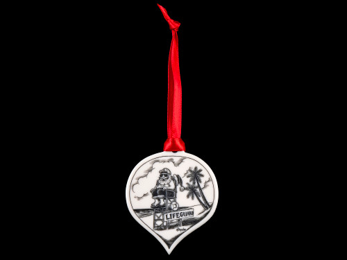 "This is a stunning teardrop ornament with a Lifeguard Santa Scene.  This is part of our Save the Elephant Collection that we make, with the wonderful artist Linda Layden.  The dimensions of the ornament are 1.91"" x 1.37"" x 0.12"".  The SKU is NC 50T - 03S  Lifeguard Santa Teardrop Ornament.  On this teardrop ornament is unique etched Lifeguard Santa design. With the tropical Santa design on one side, the back has a sanded finish."