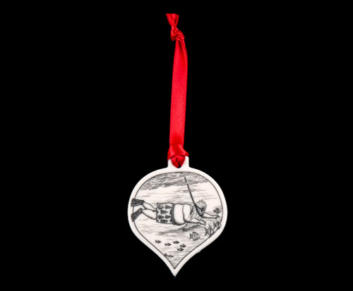 "This is a stunning teardrop ornament with a Snorkle Santa Scene.  This is part of our Save the Elephant Collection that we make, with the wonderful artist Linda Layden.  The dimensions of the ornament are 1.91"" x 1.37"" x 0.12"".  The SKU is NC 50T - 04S  On this teardrop ornament is unique etched Snorkle Santa design. With the tropical Santa design on one side, the back has a sanded finish."