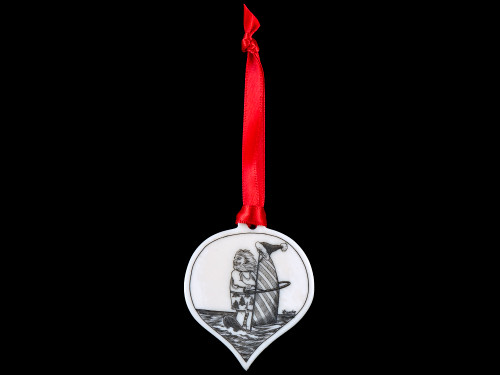 "This is a beautiful etched teardrop ornament with a Windsurfing Santa Scene.  This is part of our Save the Elephant Collection that we make, with the wonderful artist Linda Layden.  The dimensions of the ornament are 1.91"" x 1.37"" x 0.12"".  The SKU is NC 50T - 05S  On this teardrop ornament is a highly detailed etched Windsurfing Santa design. With the tropical Santa design on one side, the back has a sanded finish."