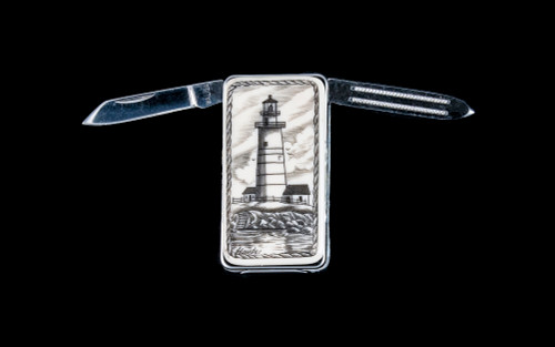 "Scrimshaw Boston Lighthouse Money Clip Knife blades open.  This beautiful originally hand etched Boston Lighthouse design on a Large Rectangle Knife Money Clip.  This unique money clip has a small knife blade and a nail filer.  This is a useful money clip that duals as a practical knife.  The artwork was originally hand etched by Linda Layden.  The dimensions of the Large Rectangle Knife Money Clip with the blade(s) closed are 2.08"" x 1.32"" x 0.30"".  The knife blade itself is approximately 1.45"" and the nail file is approximately 1.50"", making the width of the money clip with both open 5.03"".  The SKU is NC 20K - 803."