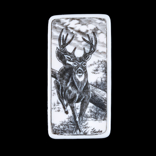 "NC 20 103A Deer Slide Money Clip.  This beautiful originally hand etched Deer design on a Large Slide Rectangle Money Clip.  This unique piece is a slide money clip.  The artwork was originally hand etched by Linda Layden.  The dimensions of the Large Rectangle Money Clip is 2.08"" x 1.32"" x 0.30"".  The SKU is NC 20 - 103A."