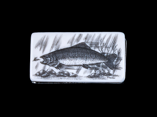 "This unique originally hand etched Trout design on a Large Slide Rectangle Money Clip.  This unique piece is a slide money clip.  The artwork was originally hand etched by Linda Layden.  The dimensions of the Large Rectangle Money Clip is 2.08"" x 1.32"" x 0.30"".  The SKU is NC 20 - 109."
