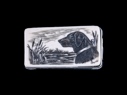 "This stunning originally hand etched Black Lab design on a Large Slide Rectangle Money Clip.  This unique piece is a slide money clip.  The artwork was originally hand etched by Linda Layden.  The dimensions of the Large Rectangle Money Clip is 2.08"" x 1.32"" x 0.30"".  The SKU is NC 20 - 135."