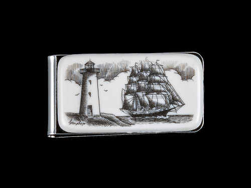 "This beautiful originally hand etched Ship and Lighthouse design on a Large Slide Rectangle Money Clip.  This unique piece is a slide money clip.  The artwork was originally hand etched by Linda Layden.  The dimensions of the Large Rectangle Money Clip is 2.08"" x 1.32"" x 0.30"".  The SKU is NC 20 - 406."