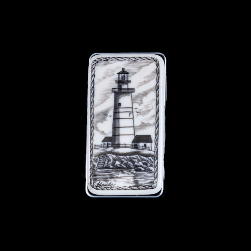 "This stunning originally hand etched Boston Lighthouse design on a Large Slide Rectangle Money Clip.  This unique piece is a slide money clip.  The artwork was originally hand etched by Linda Layden.  The dimensions of the Large Rectangle Money Clip is 2.08"" x 1.32"" x 0.30"".  The SKU is NC 20 - 803."