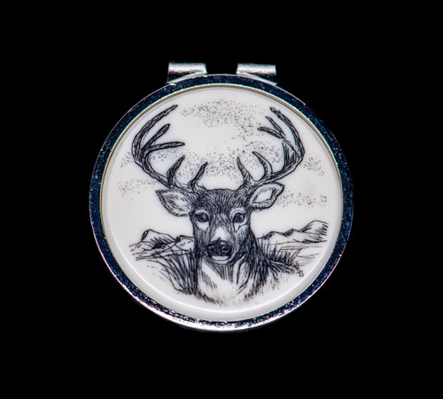 """Sample of NC 24 103 Deer Round Spring Money Clip. This beautiful originally hand etched Deer design on a Rond Spring Money Clip. This unique piece is a spring money clip. The back of the money clip has a stainless steel spring that will hold your money secure. Regardless if it is a small or large stack of bills.  The artwork was originally hand etched by Linda Layden. The artistic insert is an 1.5"""", the size of a silver dollar. The dimensions of the Large Rectangle Money Clip is 1.68"""" x 1.81"""" x 0.46"""". The SKU is NC 24 - 103."""