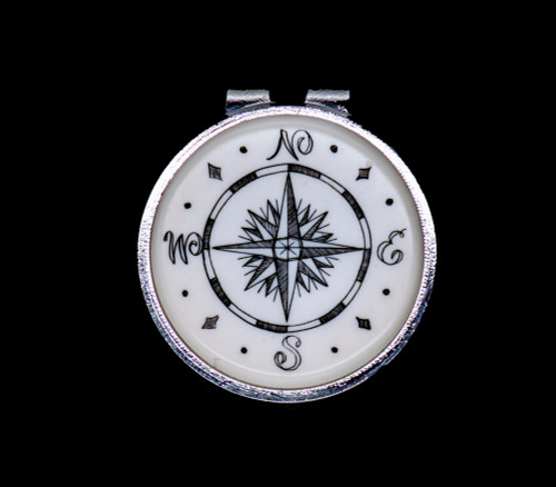 """Sample of Compass Rose NC 24 Round Spring Money Clip.  This beautiful originally hand etched Compass Rose design on a Rond Spring Money Clip. This unique piece is a spring money clip. The back of the money clip has a stainless steel spring that will hold your money secure. Regardless if it is a small or large stack of bills.  The artwork was originally hand etched by Linda Layden. The artistic insert is an 1.5"""", the size of a silver dollar. The dimensions of the Large Rectangle Money Clip is 1.68"""" x 1.81"""" x 0.46"""". The SKU is NC 24 - 149."""