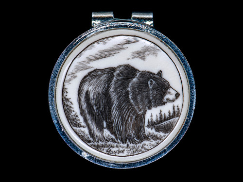 """Bear Spring Money Clip.  This unique originally hand etched Bear design on a Rond Spring Money Clip. This unique piece is a spring money clip. The back of the money clip has a stainless steel spring that will hold your money secure. Regardless if it is a small or large stack of bills.  The artwork was originally hand etched by Linda Layden. The artistic insert is an 1.5"""", the size of a silver dollar. The dimensions of the Large Rectangle Money Clip is 1.68"""" x 1.81"""" x 0.46"""". The SKU is NC 24 - 102."""