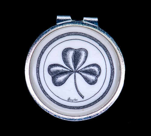 """Shamrock Money Clip. This beautiful originally hand etched Shamrock design on a Rond Spring Money Clip. This unique piece is a spring money clip. The back of the money clip has a stainless steel spring that will hold your money secure. Regardless if it is a small or large stack of bills.  The artwork was originally hand etched by Linda Layden. The artistic insert is an 1.5"""", the size of a silver dollar. The dimensions of the Large Rectangle Money Clip is 1.68"""" x 1.81"""" x 0.46"""". The SKU is NC 24 - 152."""
