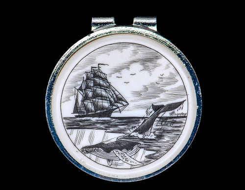 """Ship and Whale Money Clip.  This beautiful originally hand Scrimshaw Ship and Whale design on a Rond Spring Money Clip. This unique piece is a spring money clip. The back of the money clip has a stainless steel spring that will hold your money secure. Regardless if it is a small or large stack of bills.  The artwork was originally hand etched by Linda Layden. The artistic insert is an 1.5"""", the size of a silver dollar. The dimensions of the Large Rectangle Money Clip is 1.68"""" x 1.81"""" x 0.46"""". The SKU is NC 24 - 403."""