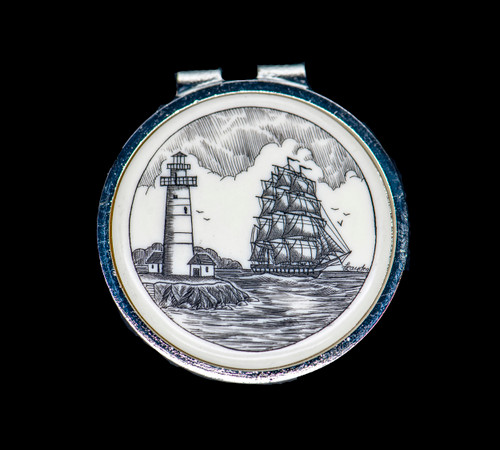 """Ship and Light Money Clip.This stunning originally hand etched Scrimshaw Ship and Lighthouse design on a Rond Spring Money Clip. This unique piece is a spring money clip. The back of the money clip has a stainless steel spring that will hold your money secure. Regardless if it is a small or large stack of bills.  The artwork was originally hand etched by Linda Layden. The artistic insert is an 1.5"""", the size of a silver dollar. The dimensions of the Large Rectangle Money Clip is 1.68"""" x 1.81"""" x 0.46"""". The SKU is NC 24 - 406."""