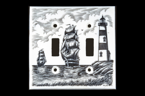 "This stunning Double Light Switch Eco - Ivory Scrimshaw Ship and Lighthouse Cover will make a great addition to any room in the house.  The design is set off the coast with two sailing vessals making their way towards a lighthouse.    This unique Double Light Switch weighs 18.84 ounces.  The dimensions are 4.55"" x 4.49""x 0.19"".  The item number is LS - 02."