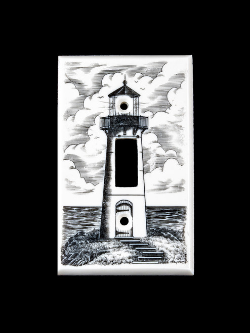 "This unique Eco - Ivory Scrimshaw Lighthouse Designed Light Switch Cover will make a great addition to any room in the house.  The scrimshaw design is of a lighthouse along the coast.    This unique Double Light Switch weighs 1.23 ounces.  The dimensions are 2.79"" x 4.52""x 0.30"".  The item number is LS - 01."