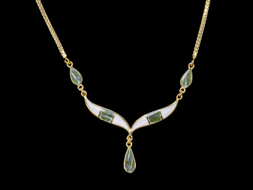 Whale Tail with Teardrop Mammoth Jade 14K Gold Pendant