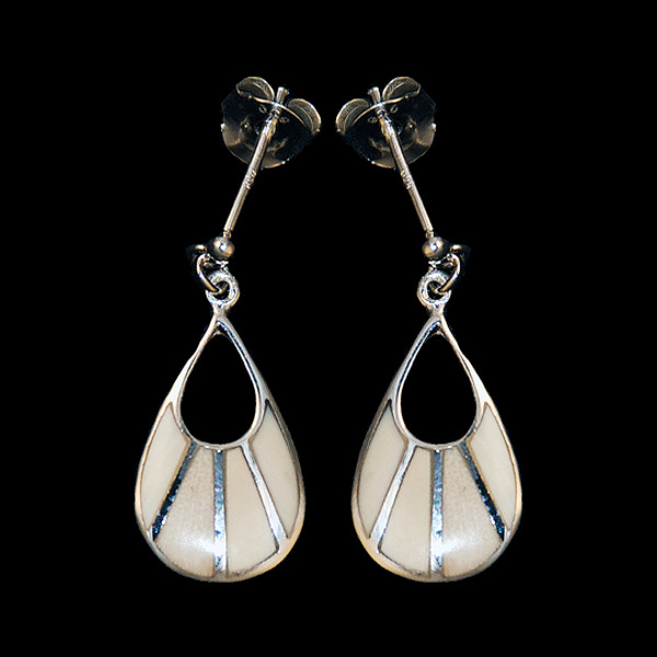 Fan Shaped Mammoth Ivory with Sterling Silver Bars Earring