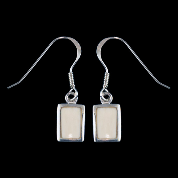 Small Rectangle Mammoth Ivory Sterling Silver French Wire Earring