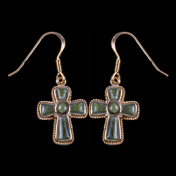 """Cross Alaskan Jade 14K Gold French Wire Earring 