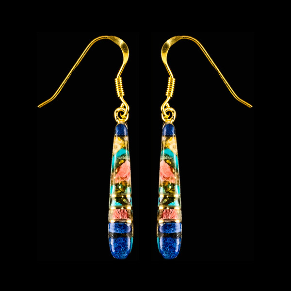 """This elegant Long Teardrop Northern Lights Stone is inlaid into 14K Gold french wire earring. This stylish piece is accentuated with 14K Gold bars. The measurements of the earrings are approximately 1.20"""" x .15""""."""