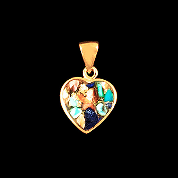 """This unique heart shaped Northern Lights Stone is inlayed into a 14K Gold pendant. This pendant comes with an 18"""" 14K Gold chain."""