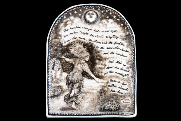 """This is a gorgeous wall plaque was originally hand etched Daughter's Wall Plaque design. This is part of the incredible line of Mossup Valley Designs that we carry, with the wonderful artist Rachel Badeau. The dimensions of the plaque are 5.33"""" x 6.81"""" x 0.37"""". The SKU is MVD WP 2.  Rachel Badeau has been etching and engraving in a variety of media for over thirty years. Her work, characterized by fine line and intricate detail, attempts to touch the hearts and emotions of others. All while reflecting her love of animals, nature and the human spirit.  The resin scrimshaw piece is originally hand etched by Rachel Badeau. We make a mold of the original piece and do an open cast pour of our resin mixture. The pieces are removed from the mold and sanded and inked."""