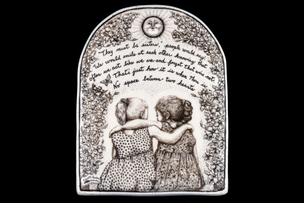 """This is a gorgeous wall plaque was originally hand etched Like Sisters Wall Plaque design. This is part of the incredible line of Mossup Valley Designs that we carry, with the wonderful artist Rachel Badeau. The dimensions of the plaque are 5.30"""" x 6.79"""" x 0.37"""". The SKU is MVD WP 11.  Rachel Badeau has been etching and engraving in a variety of media for over thirty years. Her work, characterized by fine line and intricate detail, attempts to touch the hearts and emotions of others. All while reflecting her love of animals, nature and the human spirit.  The resin scrimshaw piece is originally hand etched by Rachel Badeau. We make a mold of the original piece and do an open cast pour of our resin mixture. The pieces are removed from the mold and sanded and inked."""