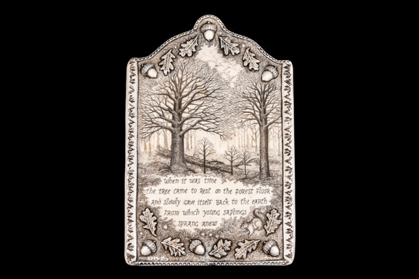 """This is a gorgeous wall plaque was originally hand etched Cycle of Life Wall Plaque Wall Plaque design. This is part of the incredible line of Mossup Valley Designs that we carry, with the wonderful artist Rachel Badeau. The dimensions of the plaque are 6.08"""" x 9.00"""" x 0.44"""". The SKU is MVD WP 13.  Rachel Badeau has been etching and engraving in a variety of media for over thirty years. Her work, characterized by fine line and intricate detail, attempts to touch the hearts and emotions of others. All while reflecting her love of animals, nature and the human spirit.  The resin scrimshaw piece is originally hand etched by Rachel Badeau. We make a mold of the original piece and do an open cast pour of our resin mixture. The pieces are removed from the mold and sanded and inked."""