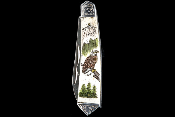 """This unique hand etched Vertical Eagle perched on a tree design on a 440 Stainless Steel Dual Blade Knife. The knife design is similar to the Shrade 2222 knife. This beautiful knife is part of the Scrimshaw Collection, with those words laser engraved into the blade. The DB 2222 knifes come with the pictured leather sheath and each scale is made with Bovine Bone. The DB 22220 Knife has bolsters and shackle that are nickel silver with brass pins and liner. It is a dual blade knife and a very useful pocket knife. The dimensions of the DB 2222 Pocket Knife with the blade closed are 3.48"""" x 0.90"""" x 0.58"""". The large blade itself is approximately 2.67"""" making the width of the knife with an open blades 6.15"""". The small blades length is approximately 1.90"""". The SKU is DB 2222 - 403.  The scrimshaw is inked with colored india ink and sealed with renaissance wax, which is used by museums for antique restoration. It also helps bring out the beauty of the artwork as well as in the cow bone. The knife is water resistant, but not waterproof."""
