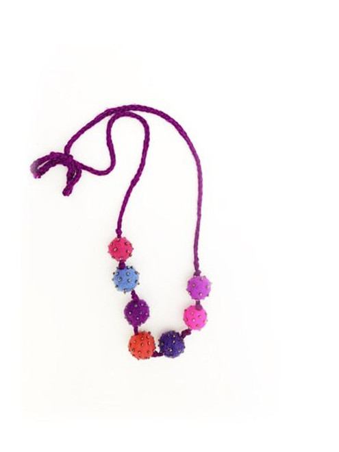 Pink & Purple Felted Ball Bead Necklace