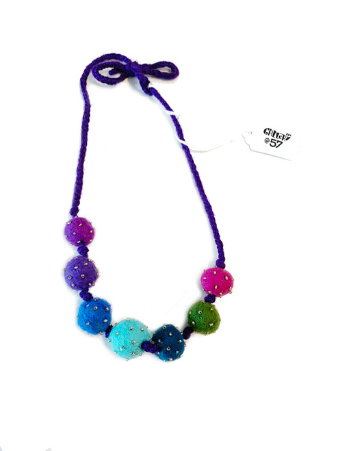 Splash of Blue Felted Ball Bead Necklace