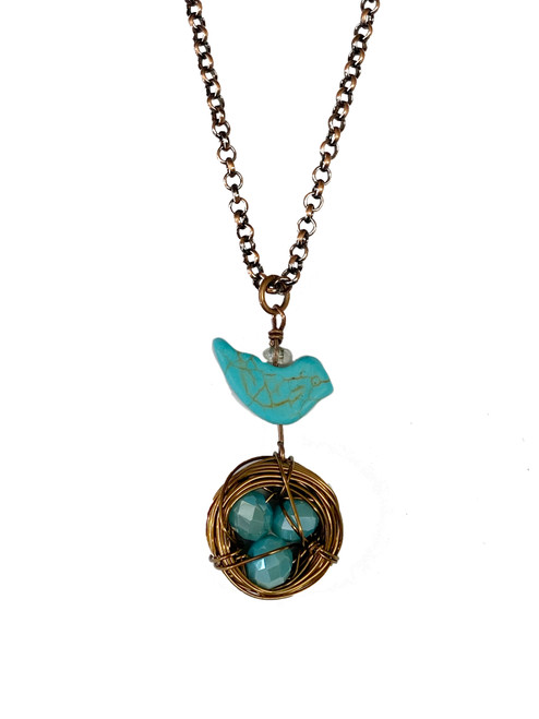 Copper Nest Pendant with Turquoise Bird and Eggs