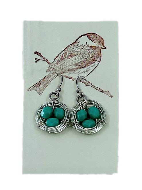 Silver Nest Earrings with Turquoise Eggs