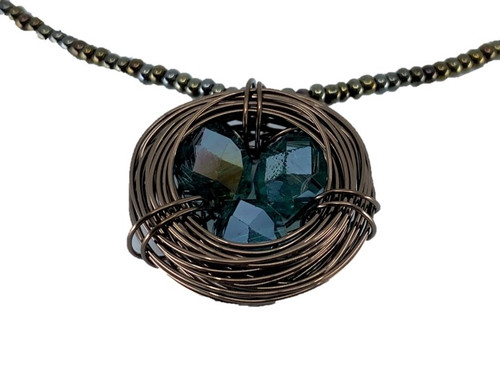 Copper Nest Pendant on Beaded Necklace