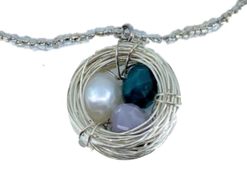 Silver Nest Pendant on Beaded Necklace
