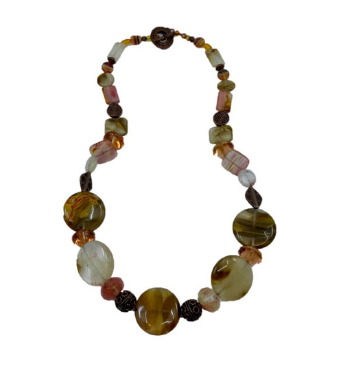 Peach & Amber Earthtones Beaded Necklace with Copper Spacers & Toggle Clasp