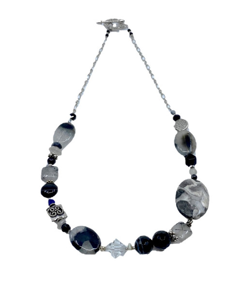 Black, Gray & Silver Beaded Necklace with Contemporary, Asymmetric Pattern